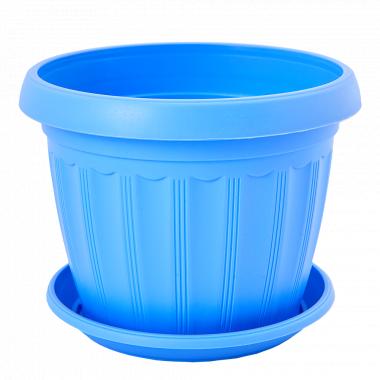 """Вазон """"Терра"""" з підст. 20*15см. (блакитний)"""