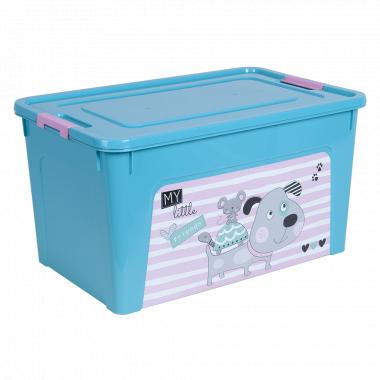 """Контейнер """"Smart Box"""" з декором Pet Shop 27л. (_бірюз./бірюз./рож.)"""