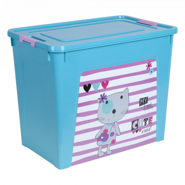 """Контейнер """"Smart Box"""" з декором Pet Shop 40л. (_бірюз./бірюз./рож.)"""