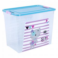 """Контейнер """"Smart Box"""" з декором Pet Shop 40л. (_пр./бірюз./рож.)"""