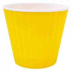 """Вазон """"Ібіс"""" подв. 13,0*11,2см. (_т.жовтий/білий)"""