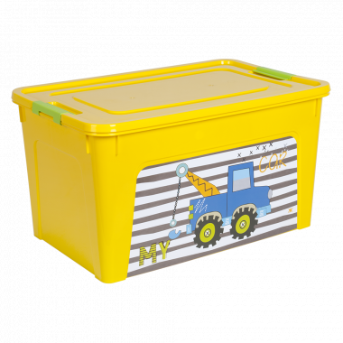 """Контейнер """"Smart Box"""" з декором My Car 27л. (_т.жовт./т.жовт./оливк.)"""