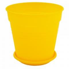 """Вазон """"Глорія"""" з підст. 18,5*18см. (т.жовтий)"""