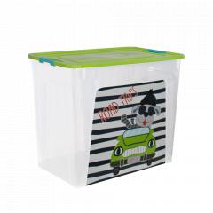 """Контейнер """"Smart Box"""" з декором My Car 40л. (_пр./оливк./бірюз.)"""