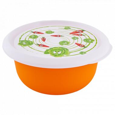Миска з кришкою з декором 2,75л. (Овочі, світло-оранж.)
