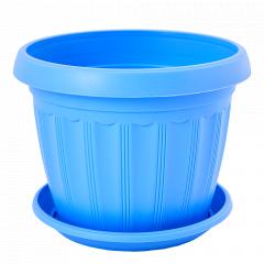 """Вазон """"Терра"""" з підст.  8* 6,5см. (блакитний)"""