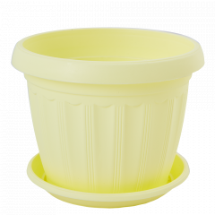 """Вазон """"Терра"""" з підст.  8* 6,5см. (жовтий)"""