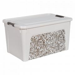"Контейнер ""Smart Box"" з декором Home 27л. (_б.роза/какао)"