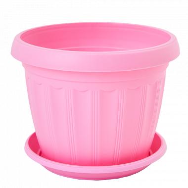 """Вазон """"Терра"""" з підст. 10* 8см. (рожевий)"""
