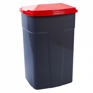 Бак сміттєвий 90л. (_т.сірий/червоний)