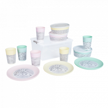 Набір посуду з декором на 6 персон (Lines)