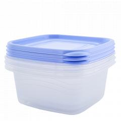 """Набір контейнерів """"Омега"""" квадратний 2,1л. (3 шт.) (_пр./бузк.)"""