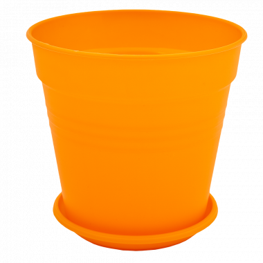 """Вазон """"Глорія"""" з підст. 14,5*14см. (оранж.)"""