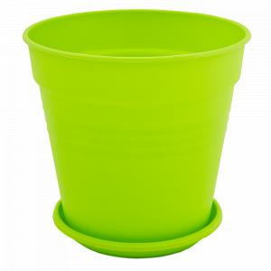"""Вазон """"Глорія"""" з підст. 14,5*14см. (світло-зелений)"""