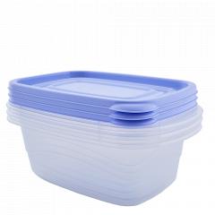 """Набір контейнерів """"Омега"""" прямокутний 0,7л. (3 шт.) (_пр./бузк.)"""